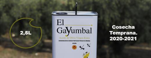 el gayumbal es un aceite de oliva virgen extra de camapa temprana, verde de la denominación de origen priego de cordoba